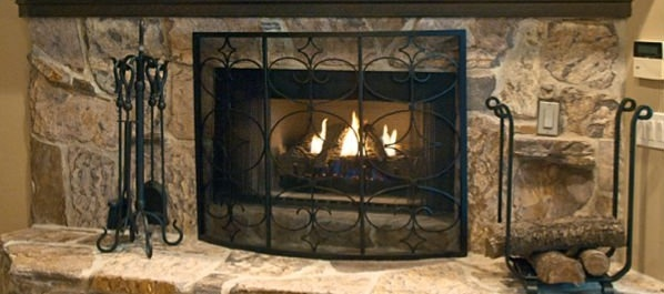 Ornate Fireplace Accessories and Tool Set