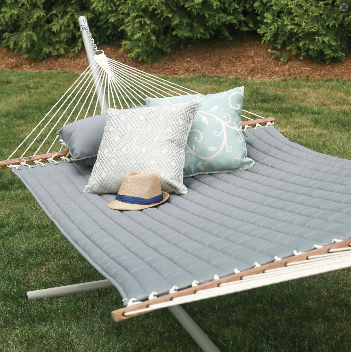 Quilted Hammock on Metal Hammock Stand