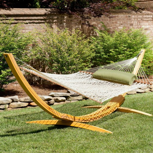 Rope Hammock on Wooden Stand