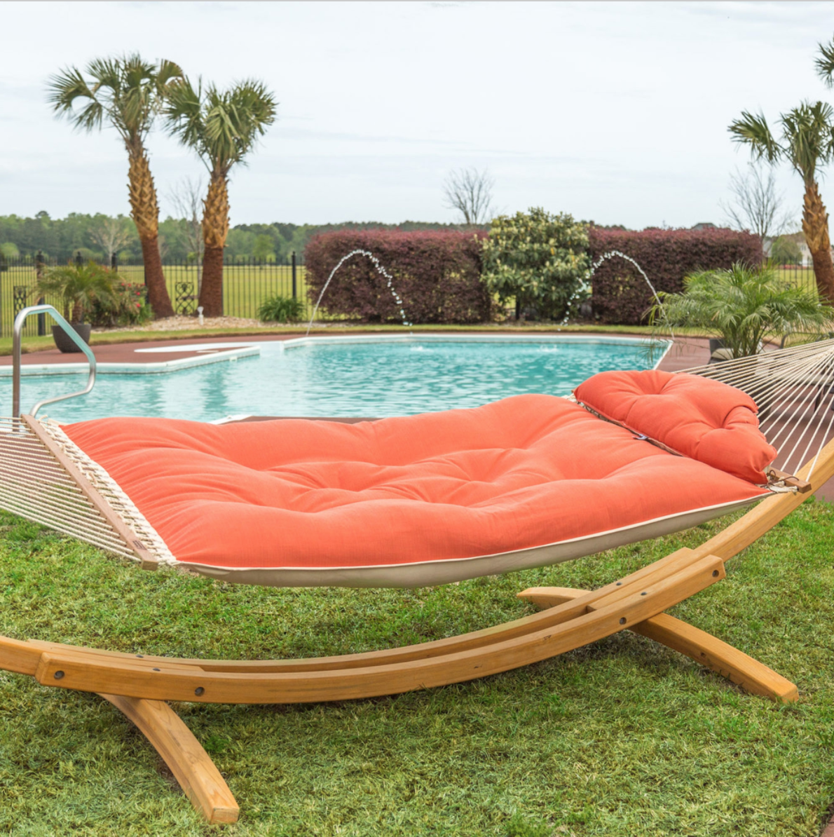 Tufted Hammock on Wooden Stand