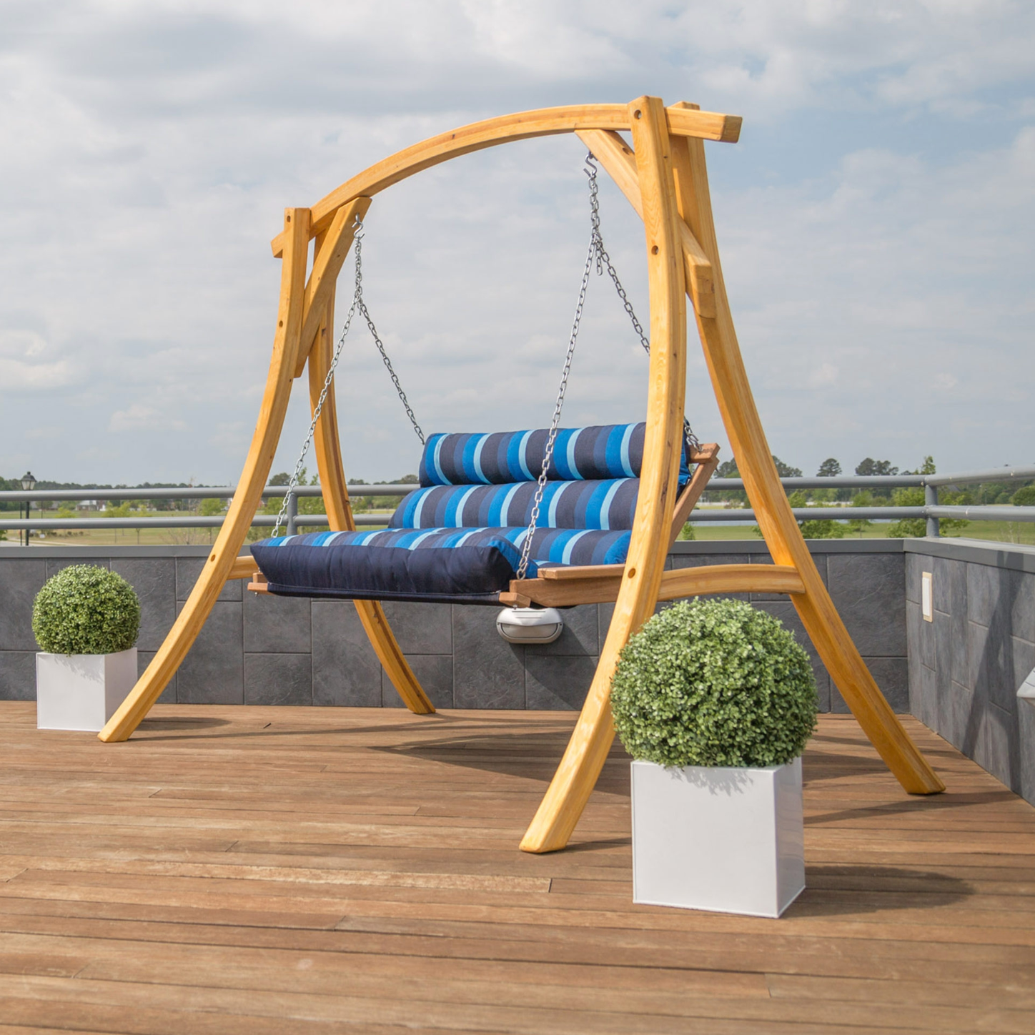 Double Tufted Outdoor Swing with Stand