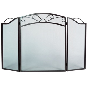 3 Fold Bronze Arched Fireplace Screen