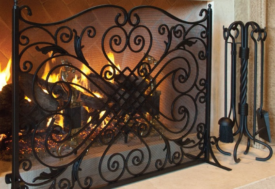 Iron Work Fireplace Accessories and Tool Set at Casual Creations